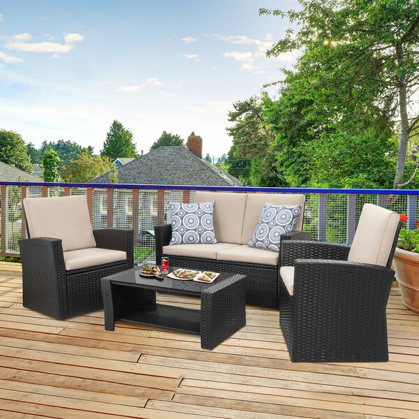Swaledale 4 Piece Rattan Sofa Seating Group with Cushions by Ebern Designs Ebern Designs
