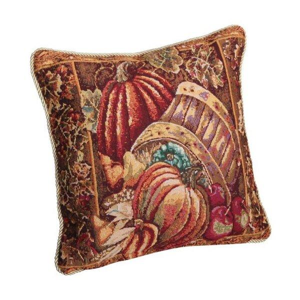Fall Harvest Bushel Basket Throw Pillow by Violet Linen