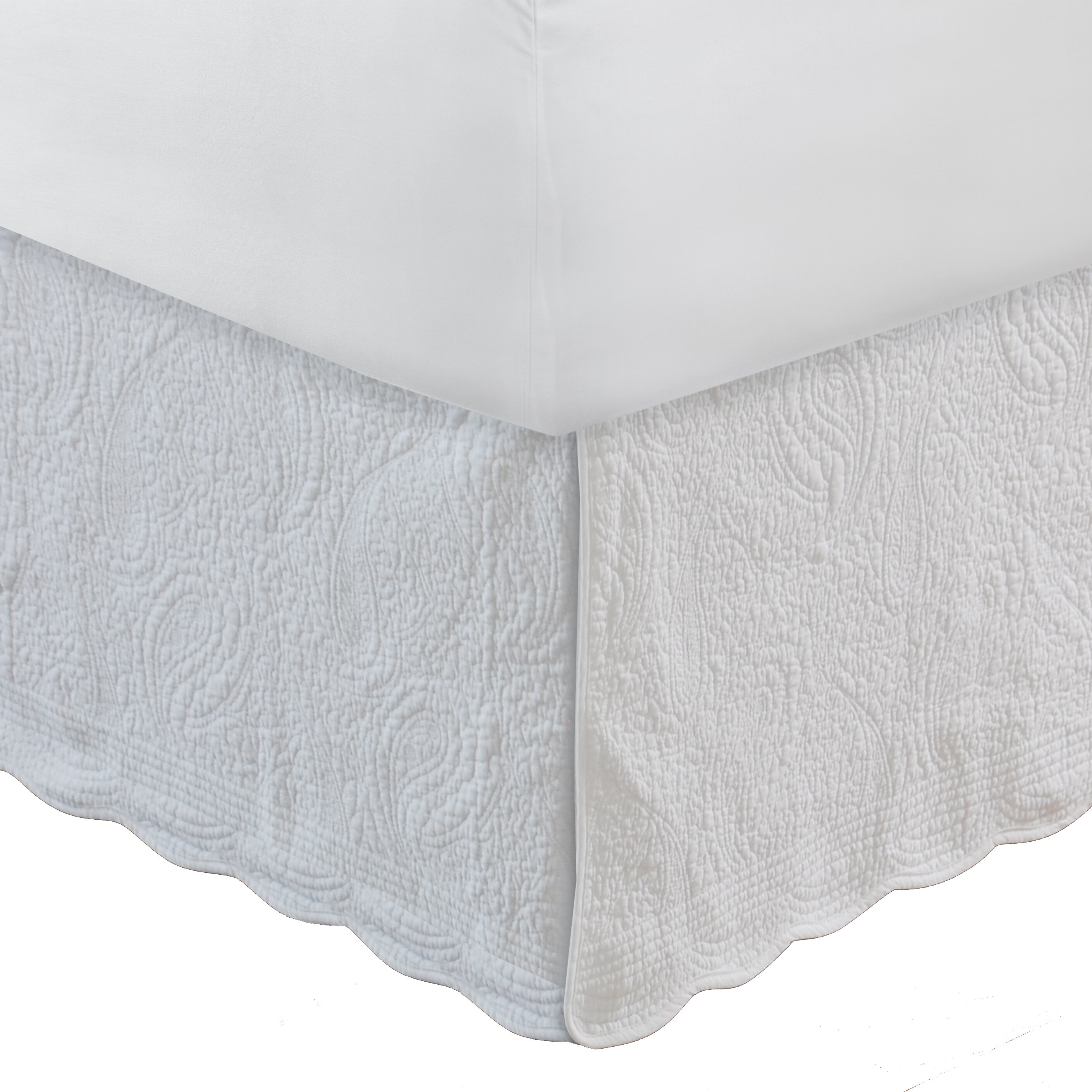 PREMIUM QUALITY Dust Ruffle Split Corner Bed Skirts White Cotton with Easy Fit