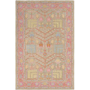 Edgerly Hand-Tufted Wool Tan/Bright Pink Area Rug by Bungalow Rose