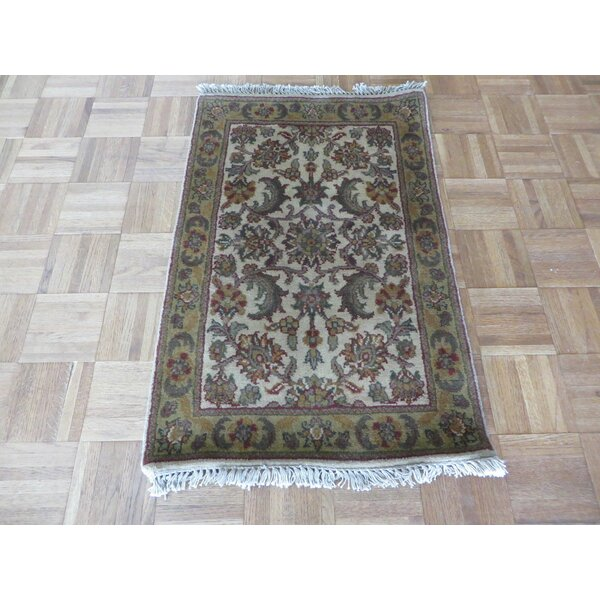 One-of-a-Kind Rhyne Hand-Knotted Ivory/Gold Area Rug by Astoria Grand