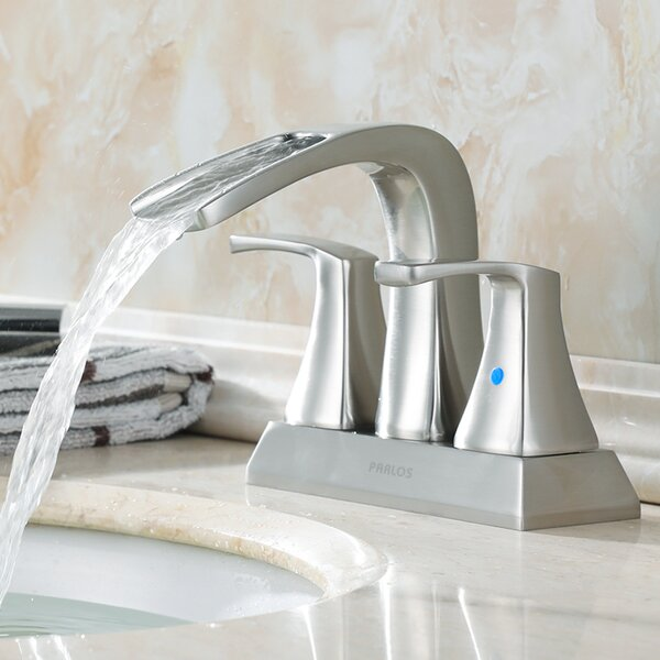 Waterfall Centerset Bathroom Faucet with Drain Assembly