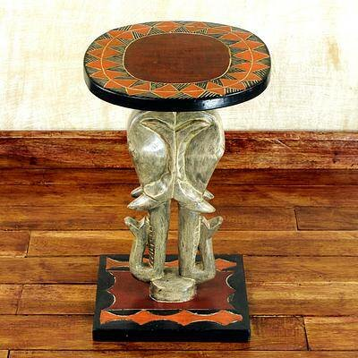Sebasco Elephants Wood End Table by Bloomsbury Market