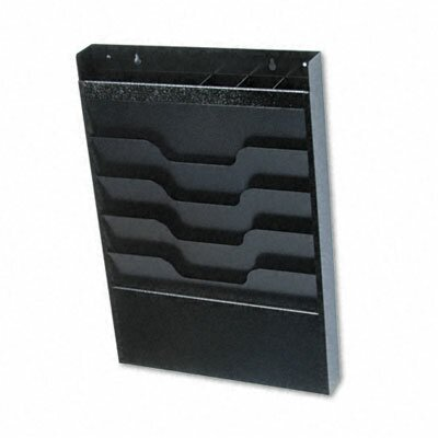 Wall File with Supplies Organizer, Letter, Four Pockets, Black by Buddy Products