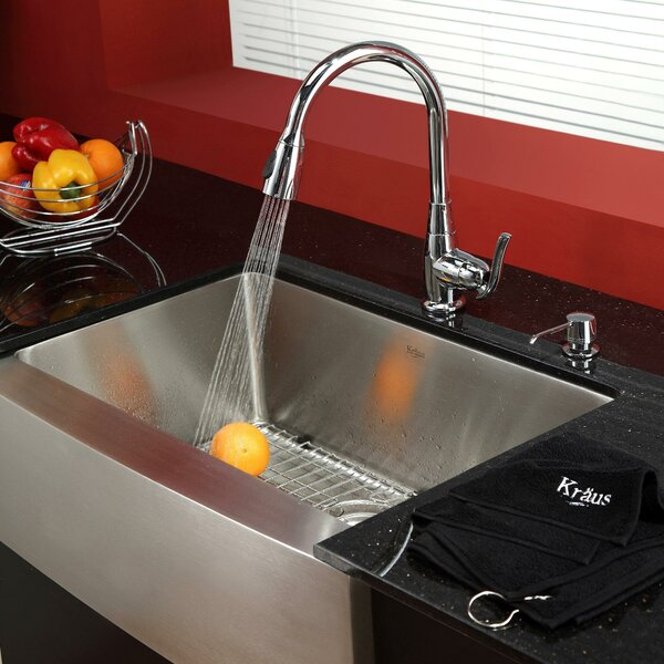 29.75 L x 20 W Farmhouse Kitchen Sink with Faucet and Soap Dispenser by Kraus