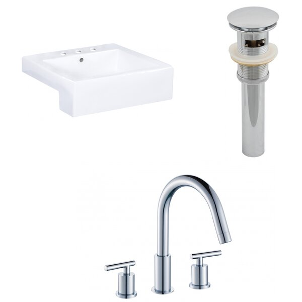 Anirudh Ceramic Rectangular Vessel Bathroom Sink with Faucet and Overflow