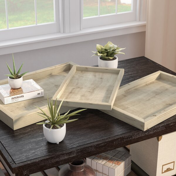 Rectangle Wooden 3 Piece Serving Tray Set by August Grove