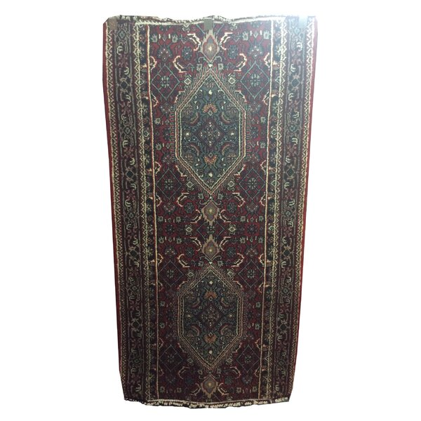 One-of-a-Kind Mahan Indo Persian Hand-Knotted Wool Red/Blue Area Rug by Astoria Grand