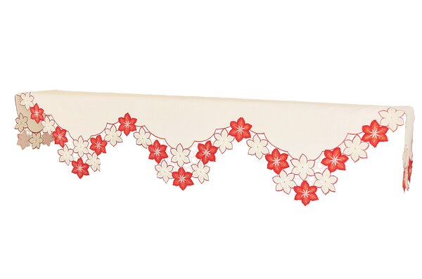 Candy Cane Poinsettia Polyester Mantel Scarf by Xia Home Fashions