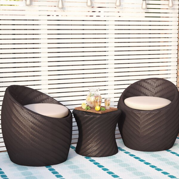 Rollin 3 Piece Conversation Set with Cushions by Willa Arlo Interiors