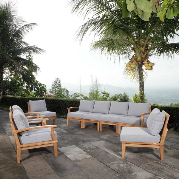 Elaina Outdoor Patio 8 Piece Teak Sectional Seating Group with Cushion by Rosecliff Heights