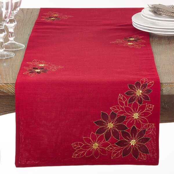 Drinnon Holiday Poinsettia Table Runner by The Holiday Aisle