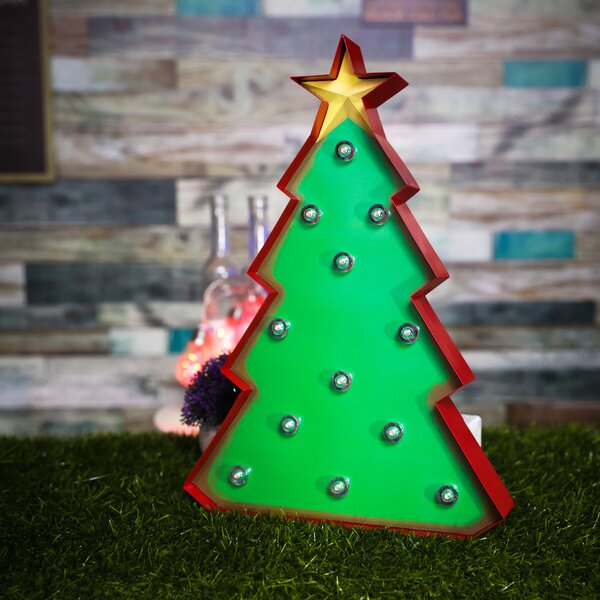 Marquee Christmas Tree Sign Wall Décor by The Holiday Aisle