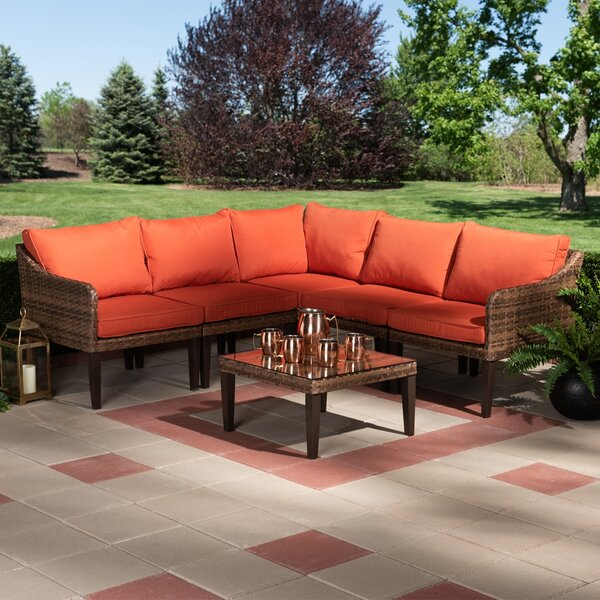 Aicha 5 Piece Rattan Sectional Seating Group by Corrigan Studio