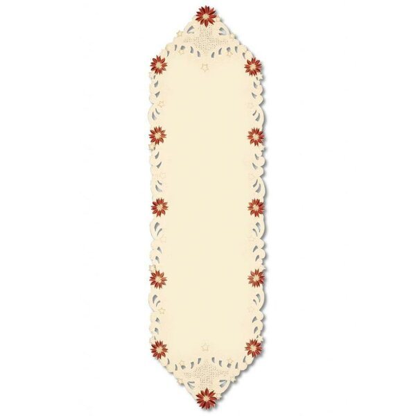 Noel Glow Decorative Embroidered Floral Christmas Table Runner by The Holiday Aisle