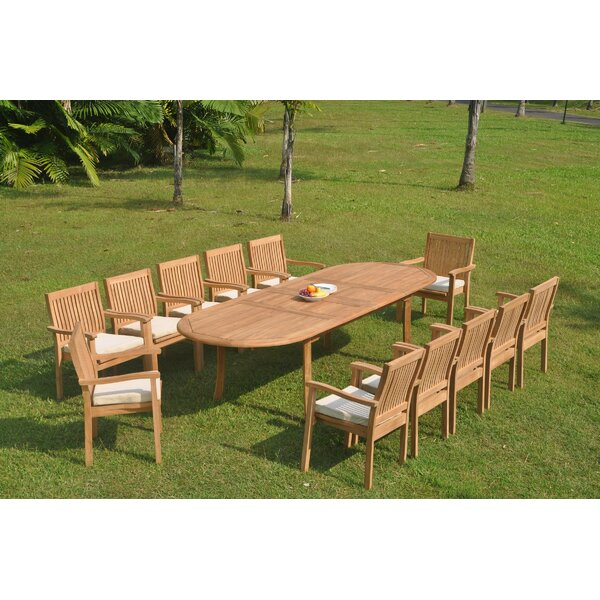 Gino 13 Piece Teak Dining Set by Rosecliff Heights