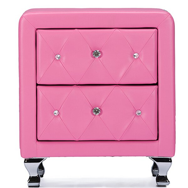 Leigh Woods Crystal Tufted Upholstered 2 Drawer Nightstand by Mercer41