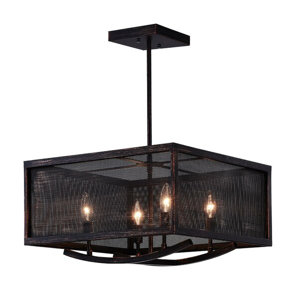 Tomlinson 4-Light Unique / Statement Rectangle / Square Chandelier By Williston Forge