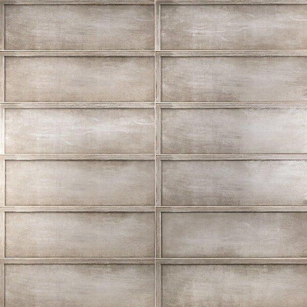 Piston Ribbed 8 x 24 Polished Porcelain Field Tile in Taupe by Splashback Tile