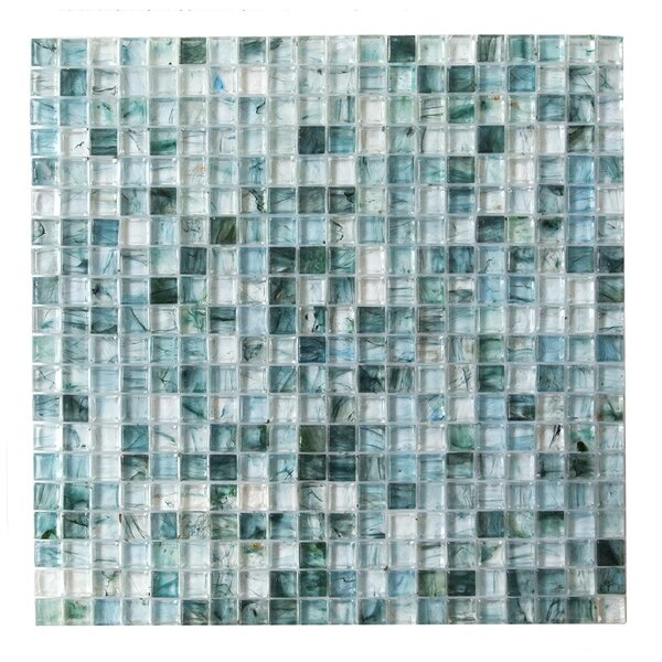 4D Cube 0.63 x 0.63 Glass Mosaic Tile in Blue by Abolos