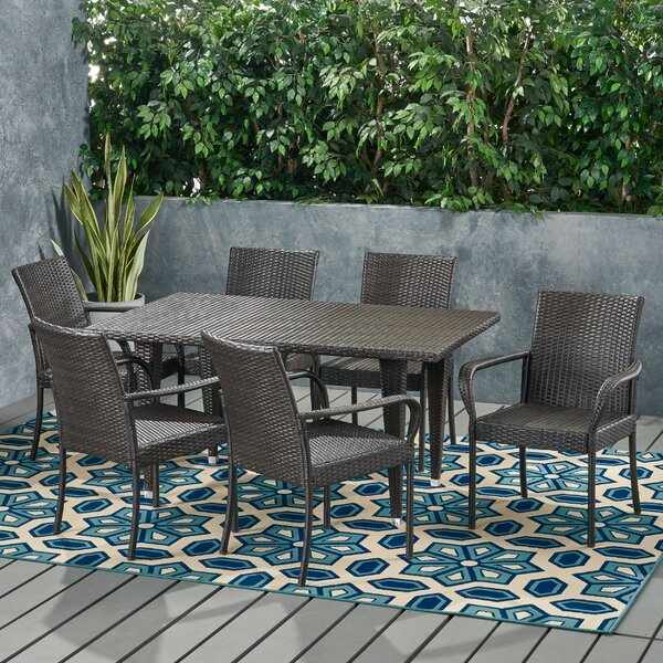 Marilyn Contemporary 6 Seater Wicker Dining Set by Wrought Studio