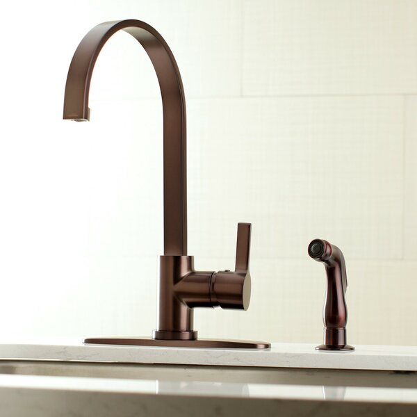 Continental Single Handle Kitchen Faucet with Side Spray by Kingston Brass