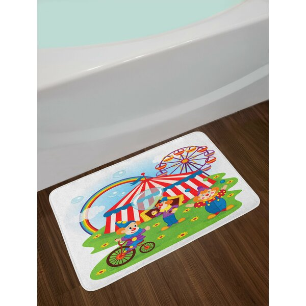 Circus Scene with Clowns on Grass Rainbow Ferris Wheel Happy Bubbles Childhood Theme Non-Slip Plush Bath Rug by East Urban Home