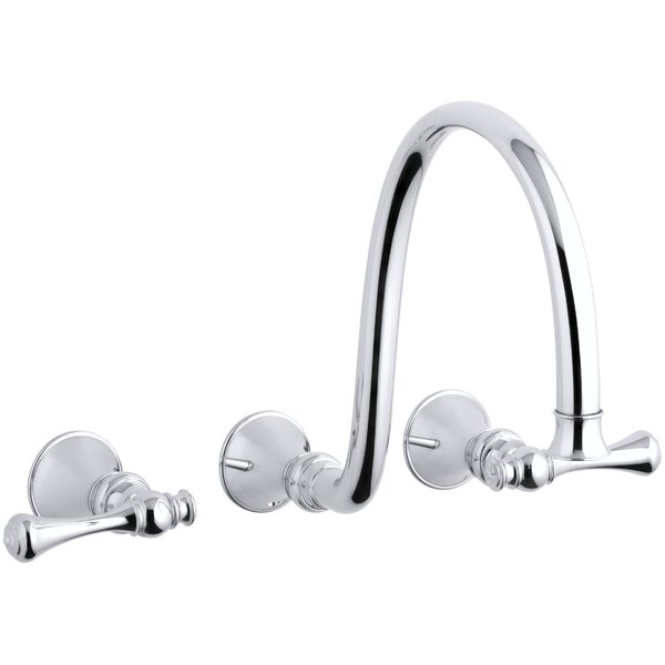 Revival Wall-Mount Bathroom Sink Faucet Trim with Traditional Lever Handles and 12 Spout, Requires Valve by Kohler