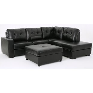 Mccomas Leather Reversible Sectional with Ottoman