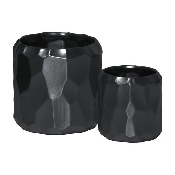 Vallie 2-Piece Ceramic Cylindrical Pot Planter Set by Ivy Bronx