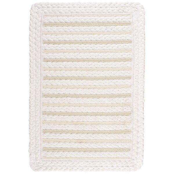 Lyndon Striped Handmade Braided Alabaster Indoor / Outdoor Area Rug