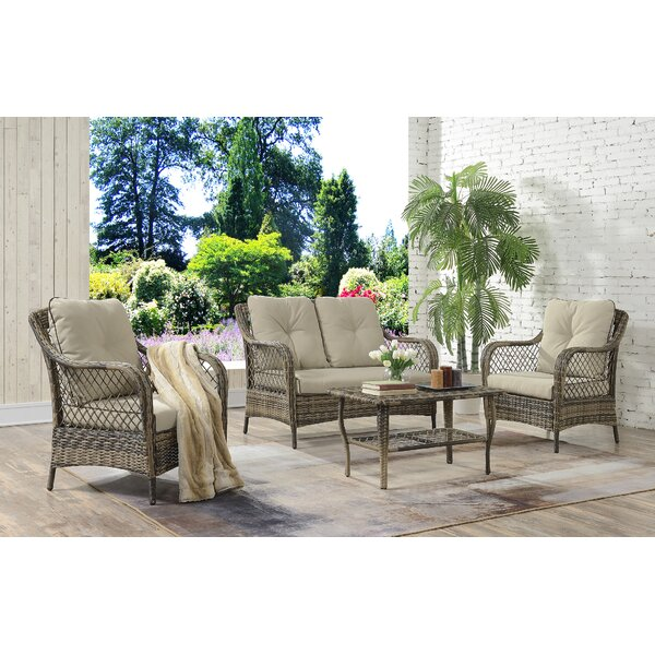Kaiya 4 Piece Rattan Sofa Seating Group with Cushions by Ophelia & Co.
