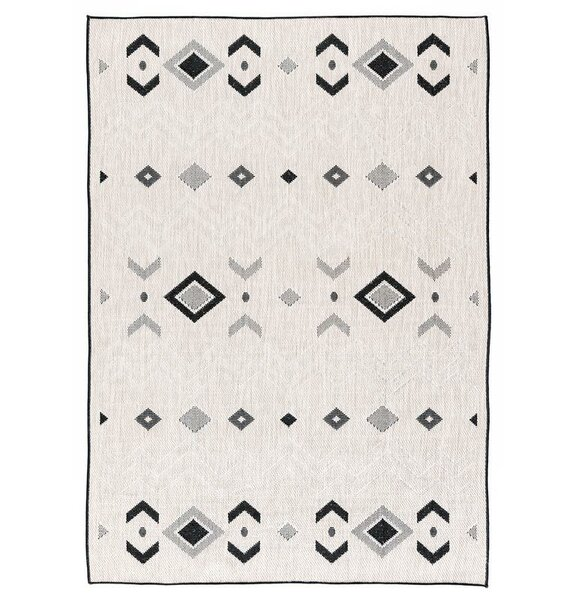 Tseng Reversible Gray/Black Indoor/Outdoor Area Rug by Millwood Pines
