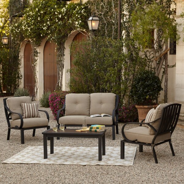 Eubanks 4 Piece Sofa Seating Group with Cushions by Alcott Hill