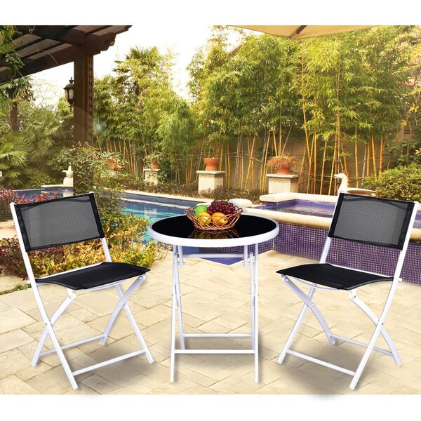 Kumru Folding Garden Backyard 3 Piece Bistro Set