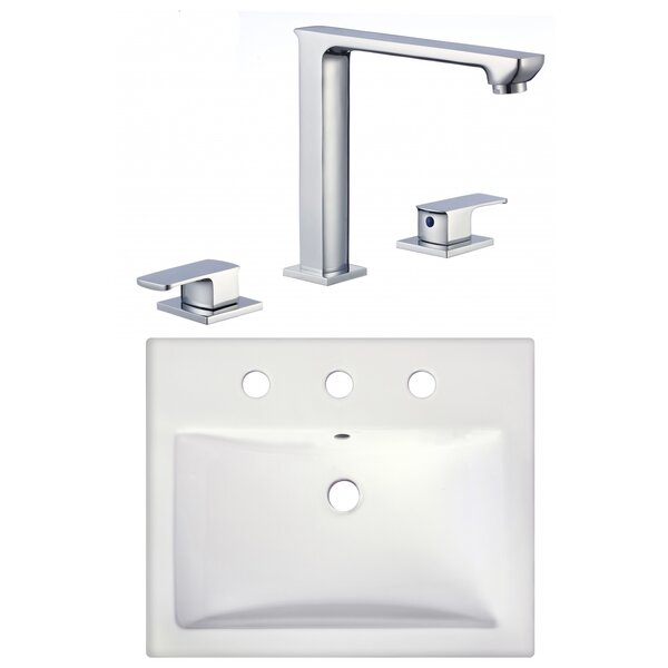 Dorella Ceramic Rectangular Vessel Bathroom Sink with Faucet and Overflow