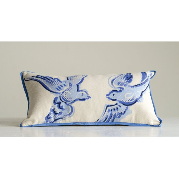 Rieves Birds Cotton Lumbar Pillow by Charlton Home