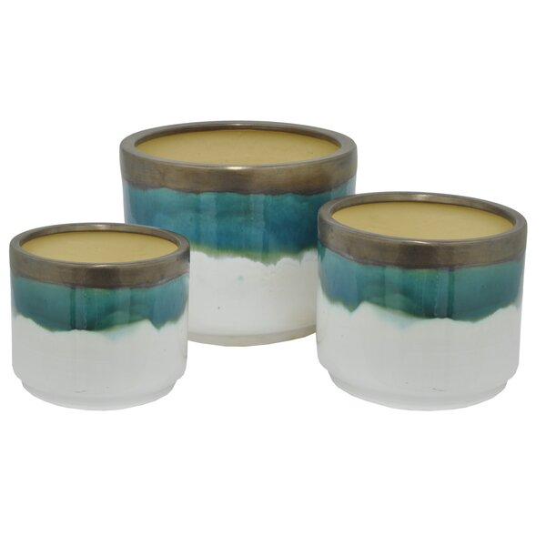 3-Piece Ceramic Pot Planter Set by Three Hands Co.