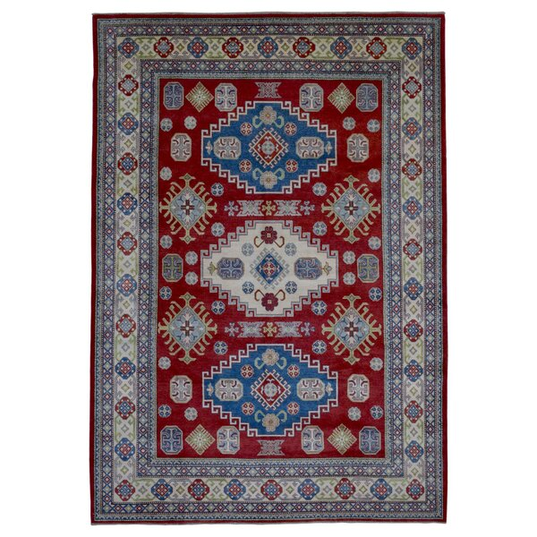 One-of-a-Kind  Roslyn Oriental Hand Woven Red Geometric Area Rug by Bloomsbury Market