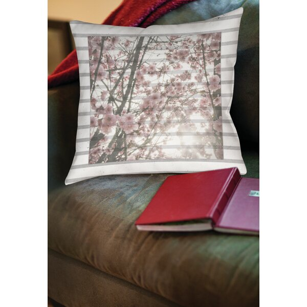 Cherry Blossom Stripes Printed Throw Pillow by Manual Woodworkers & Weavers