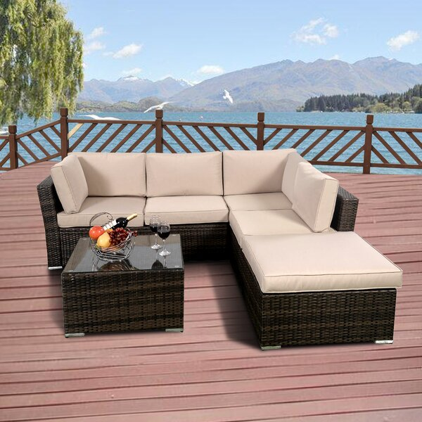 Kylee 4 Piece Rattan Sofa Seating Group with Cushions by Orren Ellis Orren Ellis