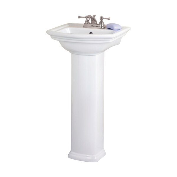 Washington 460 Vitreous China 19 Pedestal Bathroom Sink with Overflow by Barclay
