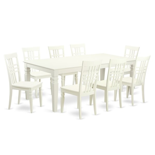 Beesley 9 Piece Linen White Wood Dining Set by Darby Home Co Darby Home Co