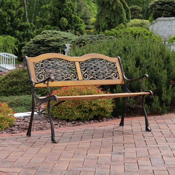 Brundidge 2-Person Crossweave Wood Patio Bench by Fleur De Lis Living