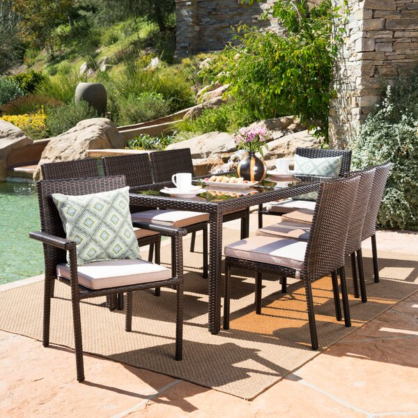 Ryleigh Wicker 9 Piece Dining Set With Cushion By Rosdorf Park
