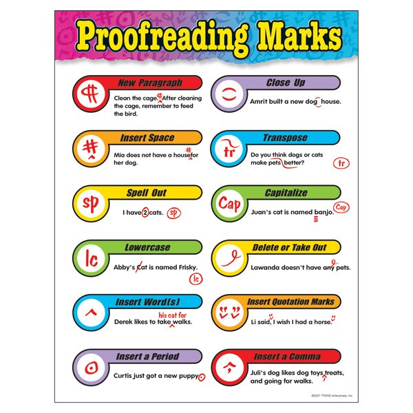 Proofreading Marks Grade 3 - 6 Chart by Trend Enterprises