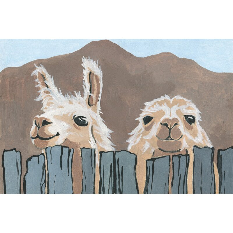 Brayden Studio Peekaboo Llamas Acrylic Painting Print on Wrapped Canvas   Reviews  Wayfair