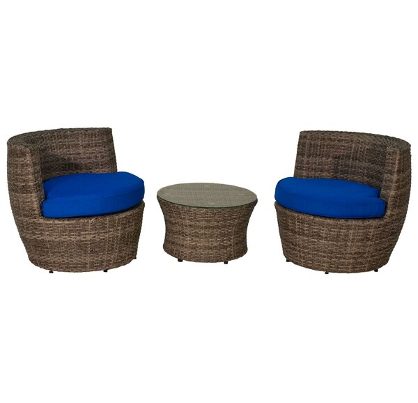 Geoffroy 3 Piece Rattan Sunbrella Conversation Set with Cushions by World Menagerie