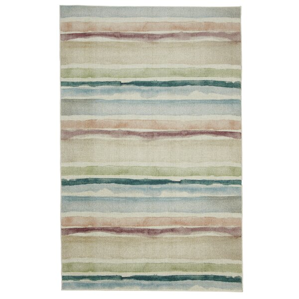 Emest Blue/Coral Area Rug by Highland Dunes