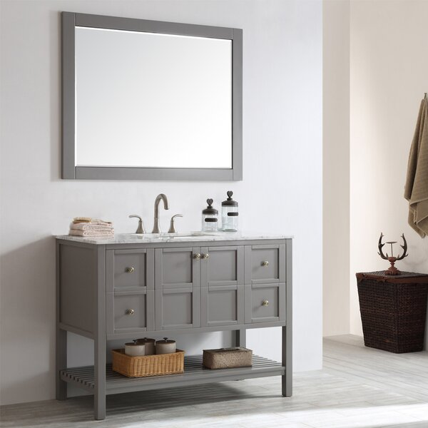 Caldwell 48 Single Bathroom Vanity Set with Mirror by Beachcrest Home